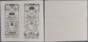 Austria: Uncut pair of 1 and 2 Gulden Formular 1800 WienerStadt-Banco Zettel, P.A29 Formular and A30 Formular with slightly stained paper and minor cr...