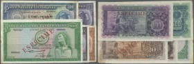 Saint Thomas & Prince: set of 5 Specimen notes from 20 to 1000 Escudos 1956/1958 & 1964, the 20 with rounded corner at lower right but unfolded (VF+ t...