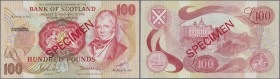 Scotland: 100 Pounds 1971 Specimen P. 115as, zero serial numbers, red Specimen overprint, light dints at right border, condition: aUNC.