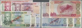 Scotland: complete set of 5 Specimen from 5 to 100 Pounds 1995 P. 119s-123s in condition: UNC. (5 pcs)