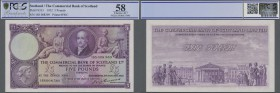 Scotland: The Commercial Bank of Scotland 5 Pounds 1952, P.S333 in excellent, almost perfect condition, PCGS graded 58 Choice AU