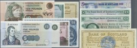 Scotland: set of 12 mostly different notes containing Bank of Scotland 1 Pound 1966 (VF-) and 1962 (XF+), Royal Bank of Scotland 1 Pound 1967 (XF+), R...
