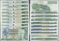 "Scotland: set of 9x 1 Pound Notes, mostly commemorative issues, containing dates 4x 1999 ""Scottish Parliament"", 1x 1994 ""Louis Stevenson"", 1x 1992 ""Eu..."