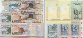 Seychelles: rare set of uncut sheets of 2 notes each of 25, 10, 50 and 2x 100 Rupees (with intaglio print and one sheet without) ND(1983) P. 28p-31p w...