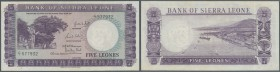 Sierra Leone: 5 Leones 1964 P. 3, light folds in paper, pressed, no holes or tears, condition: F+ to VF-.
