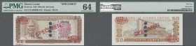 "Sierra Leone: 50 Cents ND(1979-84) TDLR Specimen, P.4s with 4 larger cancellation holes at center and Specimen number ""N° 012"" at lower left margin, P..."