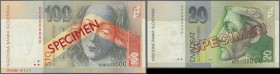 Slovakia: set of 2 Specimen notes containing 20 and 100 Korun 1996 & 1997 P. 20s, 22s, both in condition: UNC. (2 pcs)