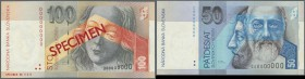 Slovakia: set of 2 Specimen notes containing 50 and 100 Korun 1993 P. 21s, 22s, both in condition: UNC. (2 pcs)