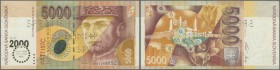 Slovakia: 5000 Korun Commemorative issue 2000 P. 40s with regular serial number and Specimen perforation, light folds at corners, otherwise problem-fr...