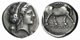 Campania, Neapolis, c. 320-300 BC. AR Didrachm (20mm, 7.43g, 12h). Head of nymph r.; grape bunch behind. R/ Man-headed bull walking r.; above, Nike fl...