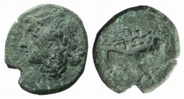 Campania, Neapolis, c. 270-250 BC. Æ (20mm, 5.21g, 11h). Laureate head of Apollo l. R/ Man-headed bull standing r., being crowned by Nike who flies ab...