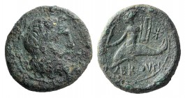 Southern Apulia, Brundisium, 2nd century BC. Æ Sextans (16mm, 4.29g, 3h). Head of Poseidon r. R/ Youth seated on dolphin l., holding Nike and lyre; st...