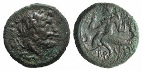 Southern Apulia, Brundisium, c. 2nd century BC. Æ Semis (20mm, 7.39g, 12h). Wreathed head of Neptune r.; to l., Victory, crowning him with wreath; tri...