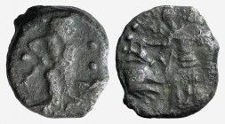 Sicily, Himera as Ila, c. 420-408 BC. Æ (15mm, 2.65g, 6h). Nymph standing l., sacrificing over altar. R/ Herakles standing r., leaning on club and hol...