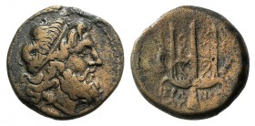 Sicily, Syracuse. Hieron II (274-216 BC). Æ (19mm, 5.88g, 12h). Head of Poseidon r., wearing tainia. R/ Ornamented trident head flanked by two dolphin...