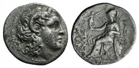 Kings of Thrace, Lysimachos (305-281 BC). AR Drachm (18mm, 4.09g, 12h). Ephesos, c. 294-287 BC. Diademed head of the deified Alexander r., with horn o...
