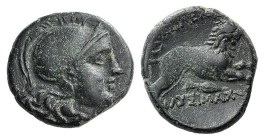 Kings of Thrace, Lysimachos (305-281 BC). Æ (16mm, 3.68g, 3h). Helmeted head of Athena r. R/ Lion advancing r.; below, spear-head. SNG Copenhagen 1153...