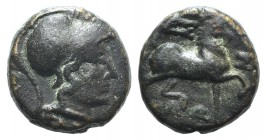 Thessaly, Thessalian League, 120-50 BC. Æ Dichalkon (15mm, 4.39g, 1h). Helmeted head of Athena r. R/ Horse trotting r. BCD Thessaly II 840. Brown pati...