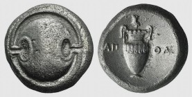 Boeotia, Thebes, c. 395-338 BC. AR Stater (21mm, 11.83g). Apol-, magistrate, 363-338 BC. Boeotian shield. R/ Amphora; grape cluster on vine above. BCD...