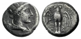 Pontos, Amisos, c. 300-125 BC. AR Siglos – Drachm (13mm, 3.72g, 12h). Turreted and draped bust of Hera-Tyche r. R/ Eagle standing facing on shield, wi...
