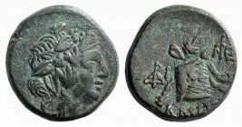 Pontos, Amisos, c. 105-85 BC. Æ (15mm, 4.23g, 12h). Struck under Mithradates VI. Wreathed head of Dionysos r. R/ Panther skin and thyrsos on cista mys...