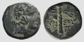 Pontos, Amisos, c. 105-85 BC. Æ (15mm, 3.51g, 12h). Struck under Mithradates VI. Wreathed head of Dionysos r. R/ Filleted thyrsos; monogram to r. SNG ...