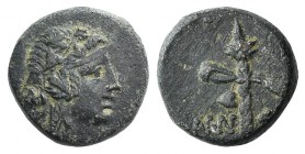 Pontos, Amisos, c. 105-85 BC. Æ (14mm, 4.18g, 12h). Struck under Mithradates VI. Wreathed head of Dionysos r. R/ Filleted thyrsos. SNG Black Sea 1129-...