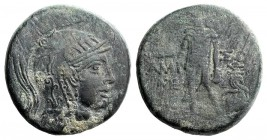 Pontos, Amisos, c. 85-65 BC. Æ (29mm, 19.26g, 12h). Struck under Mithradates VI. Helmeted head of Athena r. R/ Perseus standing facing, holding harpa ...