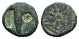 Pontos, Uncertain (Amisos?), c. 130-100 BC. Æ (19mm, 9.79g). Quiver; c/m: helmet within incuse circle and trident within incuse rectangle. R/ Eight-po...