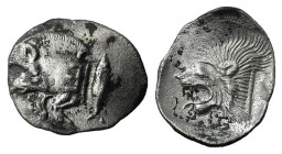 Mysia, Kyzikos, c. 450-400 BC. AR Obol (12mm, 0.79g, 9h). Forepart of boar l.; to r., tunny upward. R/ Head of lion l. within incuse square. Von Fritz...