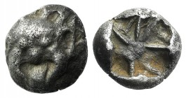 Mysia, Parion, 5th century BC. AR Drachm (13mm, 3.68g). Facing gorgoneion with protruding tongue / Disorganized linear pattern within incuse square. S...