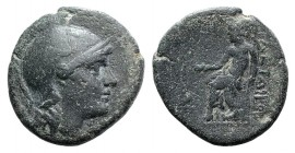 Kings of Pergamon, Philetairos (282-263). Æ (17.5mm, 3.74g, 12h). Helmeted head of Athena r. R/ Asklepios seated l. on stool, feeding serpent coiled t...