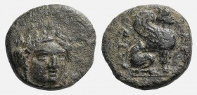 Troas, Gergis, c. 350-300 BC. Æ (10mm, 1.17g, 12h). Head of Sibyl Herophile facing slightly r., wearing laurel wreath and necklace. R/ Sphinx seated r...