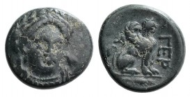 Troas, Gergis, c. 400-241 BC. Æ (15mm, 4.34g, 11h). Three-quarter facing head of Sibyl Herophile, turned slightly r., wearing laurel wreath and neckla...