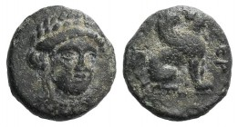 Troas, Gergis, c. 350-300 BC. Æ (11mm, 1.46g, 12h). Head of Sibyl Herophile facing slightly r., wearing laurel wreath and necklace. R/ Sphinx seated r...