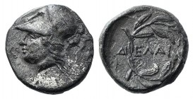 Aeolis, Elaia, c. 450-400 BC. AR Diobol (9mm, 1.03g, 6h). Helmeted head of Athena l. R/ Laurel wreath within incuse square. SNG Copenhagen 166 var. VF