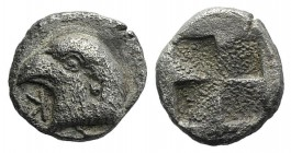 Aeolis, Kyme, c. 450-400 BC. AR Hemiobol (6mm, 0.54g). Head of eagle l.; retrograde K to l. R/ Quadripartite incuse square. SNG von Aulock 1623. About...