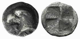 Aeolis, Kyme, c. 450-400 BC. AR Hemiobol (6mm, 0.41g). Head of eagle l.; retrograde K to l. R/ Quadripartite incuse square. SNG von Aulock 1623. About...