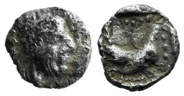 Lesbos, Methymna, c. 450/40-406/379 BC. AR Hemiobol (6mm, 0.28g, 6h). Female head r., hair bound in sakkos. R/ Hen standing r. in incuse square. HGC 6...