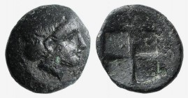 Lesbos, Mytilene, c. 440-400 BC. Æ (8mm, 0.69g). Diademed head of Apollo r. R/ Quadripartite incuse square. SNG Copenhagen 364. VF