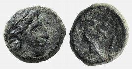 Lesbos, Nesos, 4th century BC. Æ (8mm, 0.86g, 12h). Laureate head of Apollo r. R/ Panther crouching l., head facing; club below. SNG Copenhagen 430 (A...