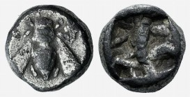 Ionia, Ephesos, c. 500-420 BC. AR Diobol (7mm, 1.25g). Bee. R/ Quadripartite incuse square. Karwiese Series VI; SNG Kayhan 124-5. VF