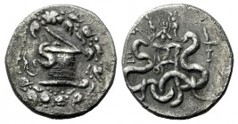 Ionia, Ephesos, c. 180-67 BC. AR Cistophoric Tetradrachm (28mm, 12.23g, 12h), year 3? (132/1 BC). Cista mystica with serpent; all within ivy wreath. R...