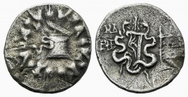 Ionia, Ephesos, c. 133-67 BC. AR Cistophoric Tetradrachm (28mm, 11.91g, 12h), year 44 (91/0 BC). Cista mystica with serpent; all within ivy wreath. R/...