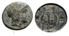 Ionia, Kolophon, c. 400-375 BC. Æ Chalkous (11mm, 1.55g, 1h). Head of Apollo r., wearing tainia. R/ Kithara within linear square; astragaloi to l. and...