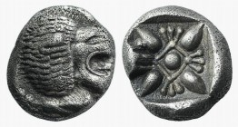 Ionia, Miletos, late 6th-early 5th century BC. AR Diobol (8mm, 1.13g). Forepart of a lion l., head r. R/ Stellate design within square incuse. SNG Kay...