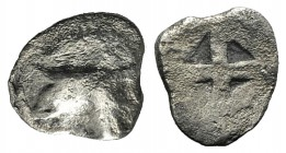 Ionia, Phokaia(?), c. 6th-5th century BC. AR Hemiobol (10mm, 0.46g). Head of Griffin l. R/ Quadripartite incuse square. Good Fine