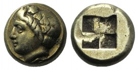 Ionia, Phokaia, c. 387-326 BC. EL Hekte – Sixth Stater (9mm, 2.53g). Wreathed head of young Pan l., wearing wreath of ivy; seal below. R/ Quadripartit...