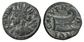 Ionia, Smyrna. Pseudo-autonomous issue, 2nd century AD. Æ (16mm, 3.01g, 6h). Turreted bust of the Amazon Smyrna l., holding bipennis over shoulder. R/...