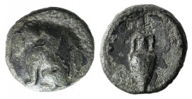 Islands off Ionia, Chios, c. 4th century BC. Æ (9mm, 1.12g, 9h). Sphinx seated l. R/ Amphora. Cf. SNG Copenhagen 1551ff. Green patina, Good Fine